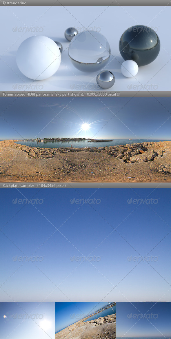 HDRI spherical sky panorama -0858- sun clear sky - 3DOcean Item for Sale