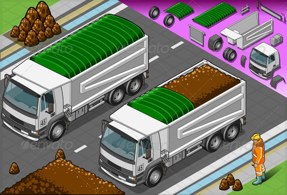 Isometric Containers Trucks in Front View - Man-made Objects Objects