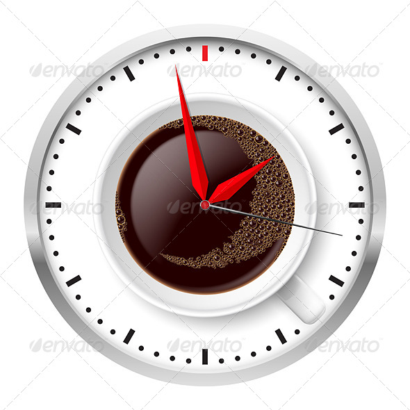 Clock and Coffee Cup - Man-made Objects Objects