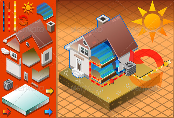 Isometric House with Conditioner Cold Production - Buildings Objects