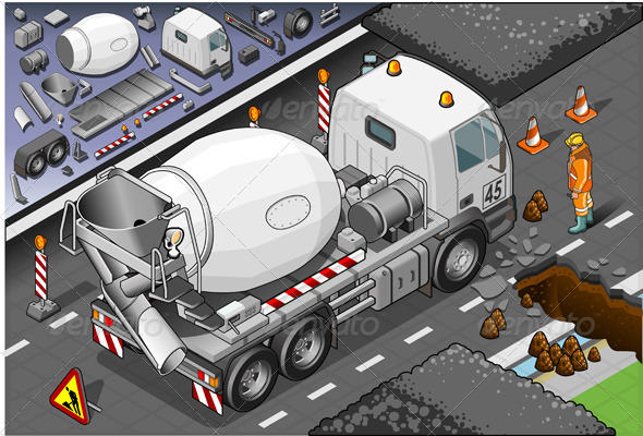 Isometric Cement Mixer Truck in Rear View - Man-made Objects Objects