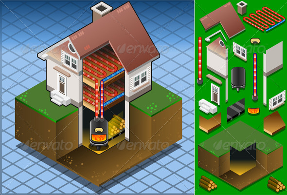 Isometric House with Wood Fired Boiler - Buildings Objects