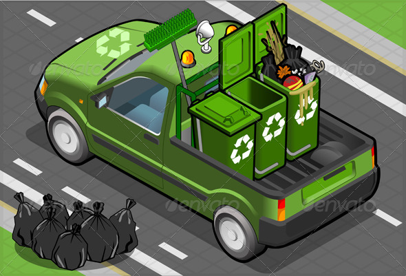 Isometric Garbage Pick Up in Rear View - Man-made Objects Objects