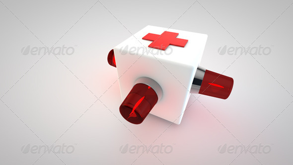 3D Cross Ambulance Symbol - Objects 3D Renders