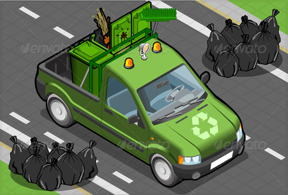 Isometric Garbage Pick Up in Front View - Man-made Objects Objects