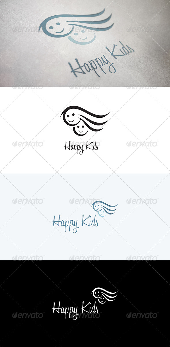Abstract Faces of Kids - Humans Logo Templates