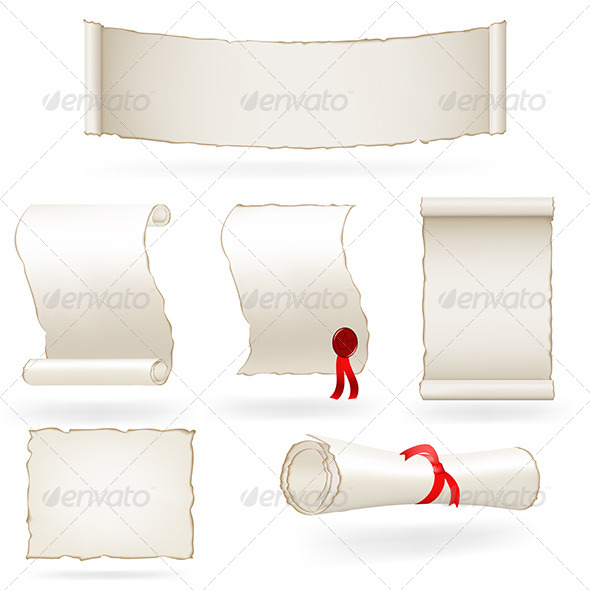 Set of Old Paper Scrolls. - Man-made Objects Objects