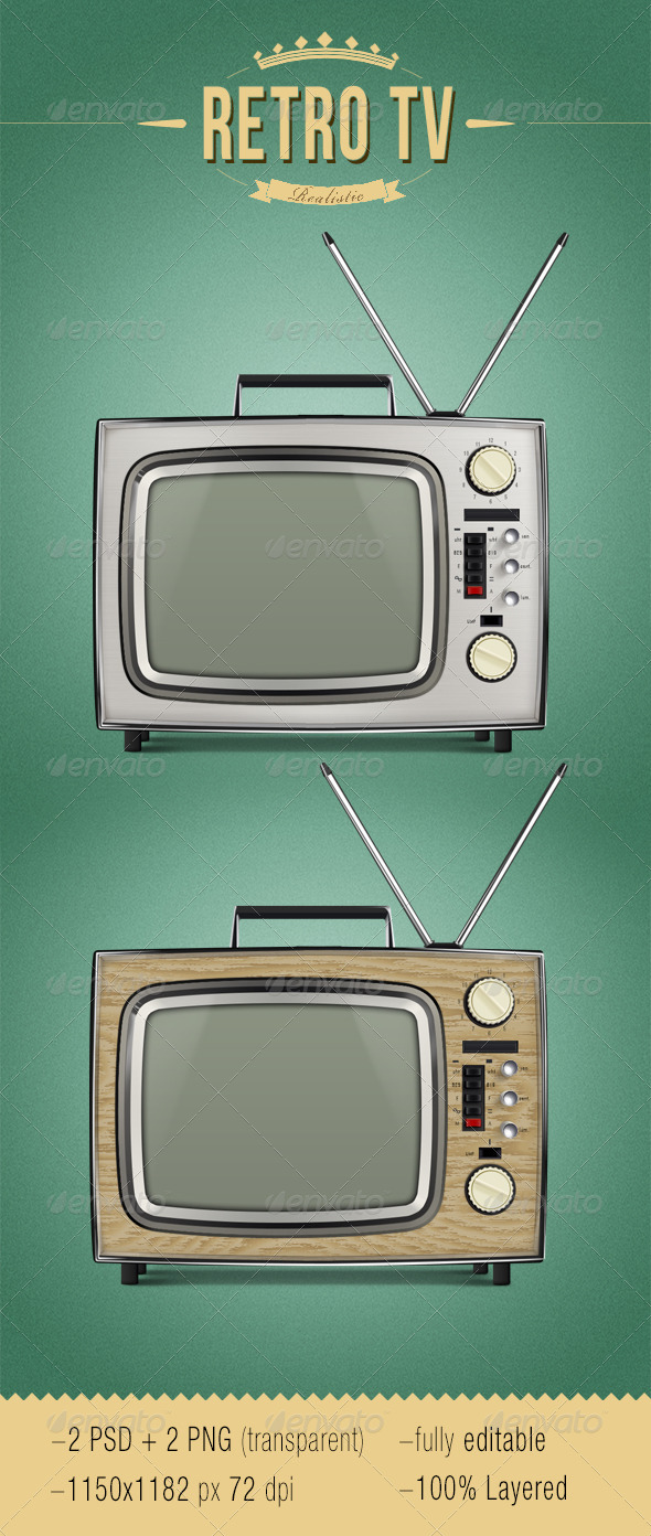 Realistic Retro TV - Objects Illustrations