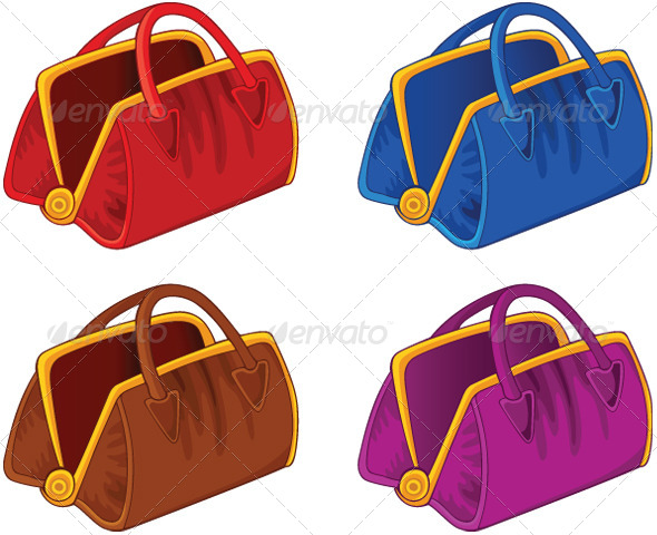 Set of Color Handbags - Man-made Objects Objects