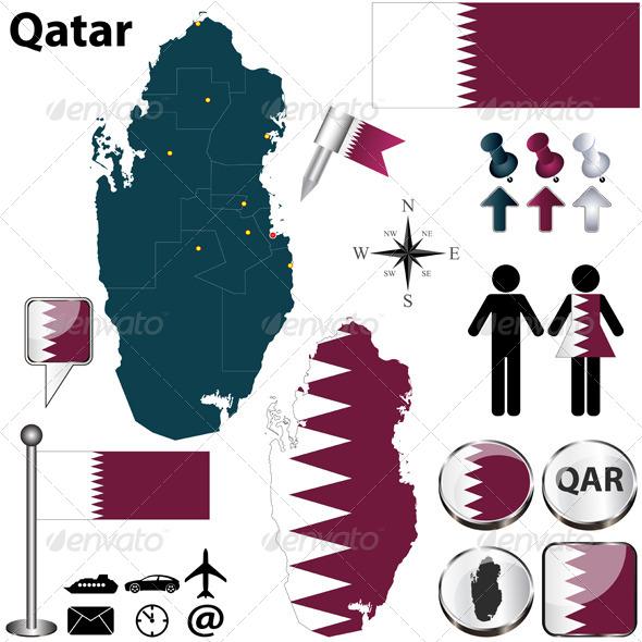Map of Qatar - Travel Conceptual