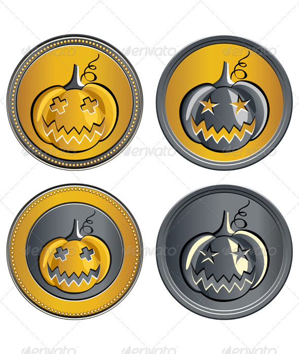 Vector set of coins on Halloween - Man-made Objects Objects