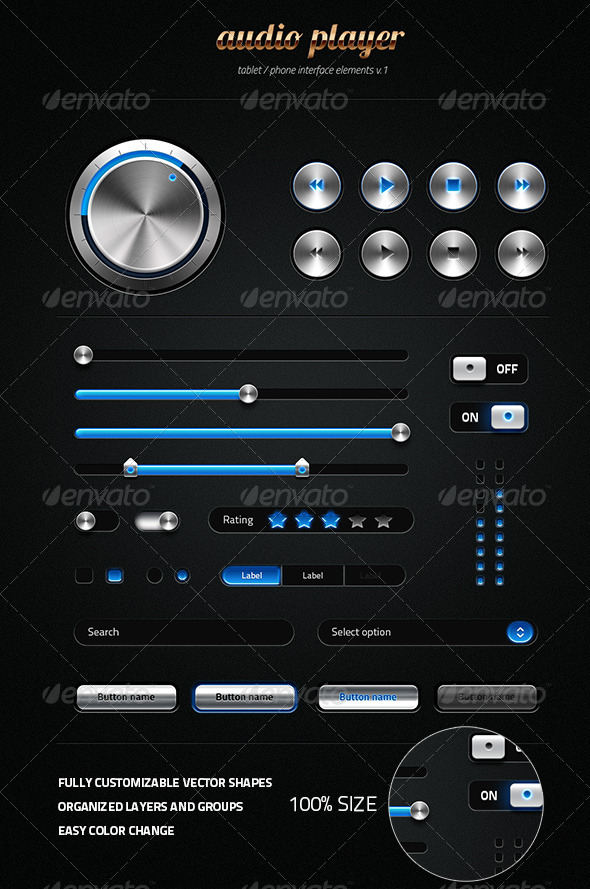 Metalic User Interface Kit - User Interfaces Web Elements