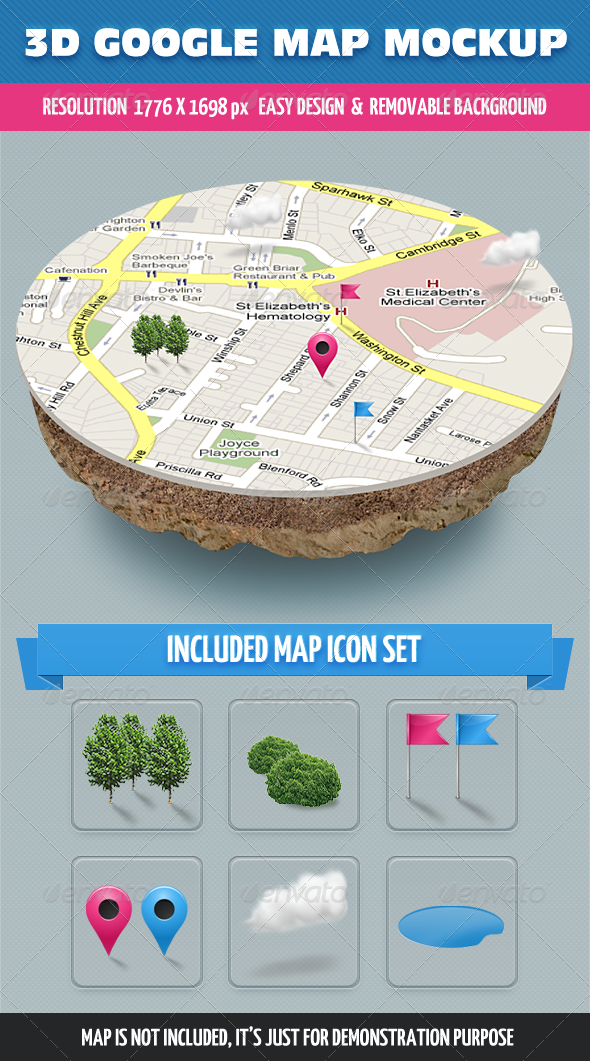 3D Map Mockup - Miscellaneous Product Mock-Ups