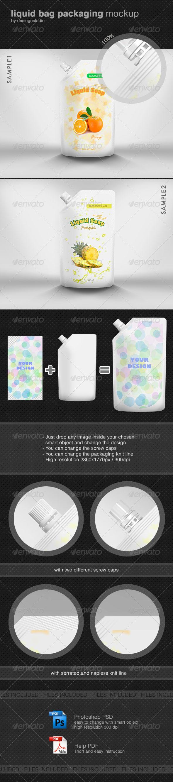 Liquid Bag Packaging Mock-Up - Food and Drink Packaging