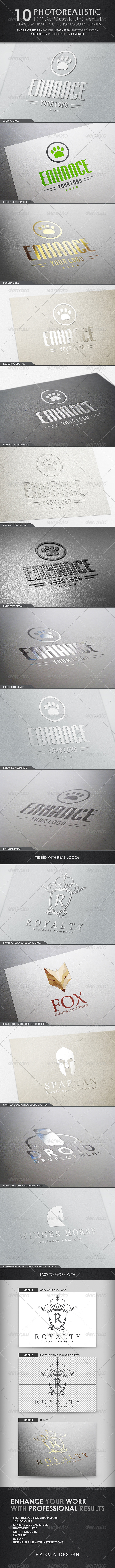 10 Photorealistic Logo Mock-Ups / Set 1 - Logo Product Mock-Ups