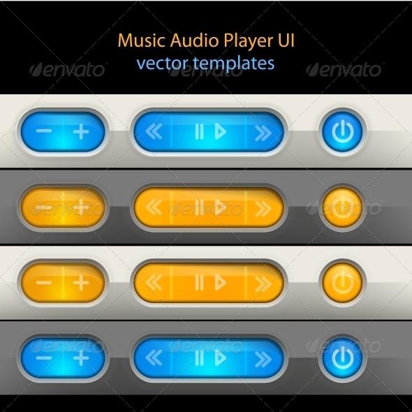 Media Player Control Elements - Web Elements Vectors