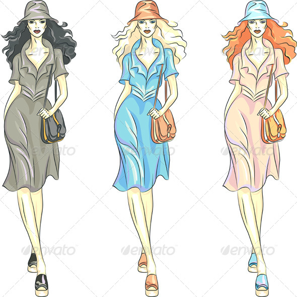 Fashion Girl in Dresses and Hat - People Characters