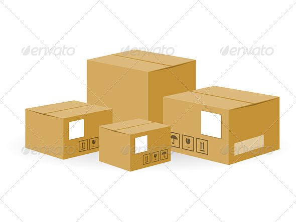 Brown Shipping Boxes - Vectors
