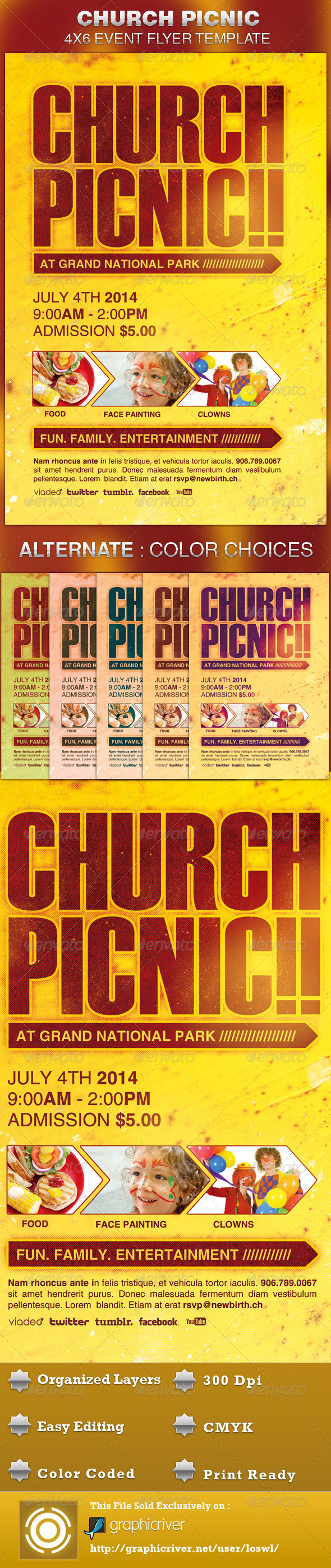 Church picnic flyer template by loswl graphicriver church picnic flyer template saigontimesfo