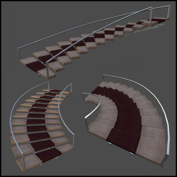 Curved wooden staircase - 3DOcean Item for Sale