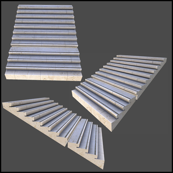 Small Concrete Stairs - 3DOcean Item for Sale