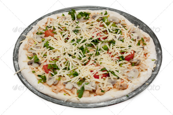Uncooked vegetarian pizza - Stock Photo - Images