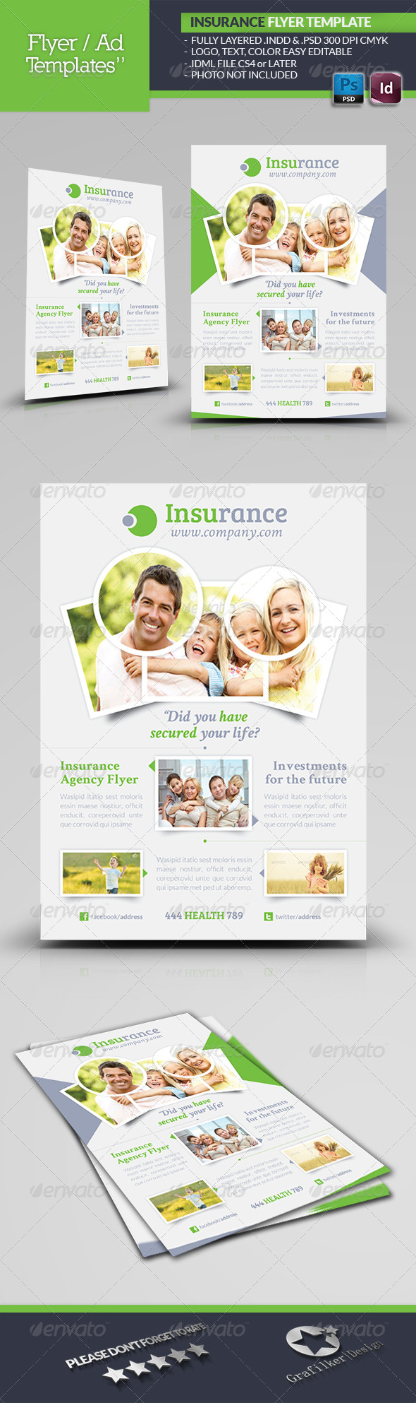 Insurance Agency Flyer Template By Grafilker GraphicRiver - Insurance brochure template