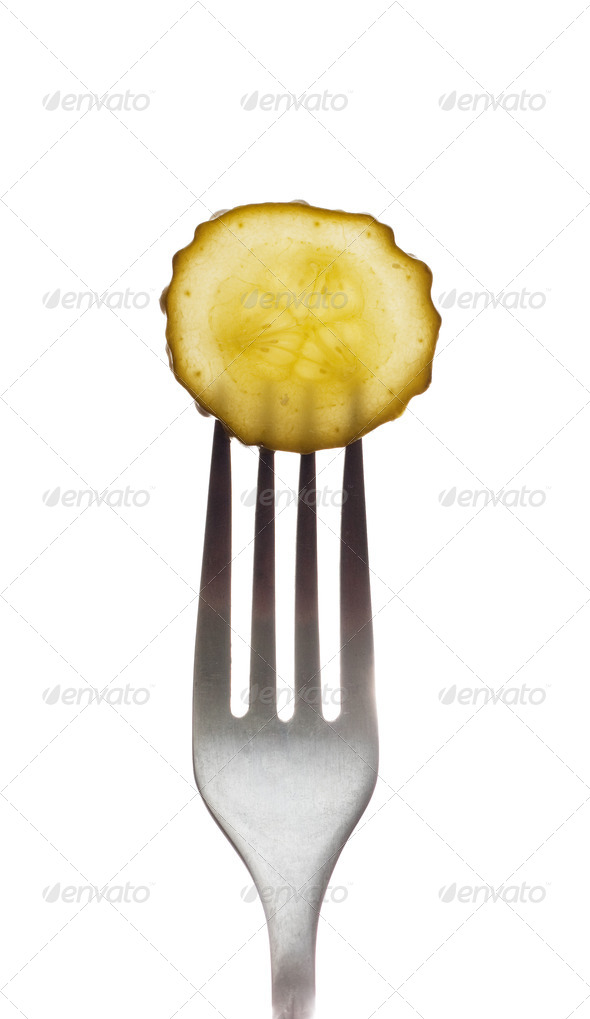 Pickle on a fork - Stock Photo - Images