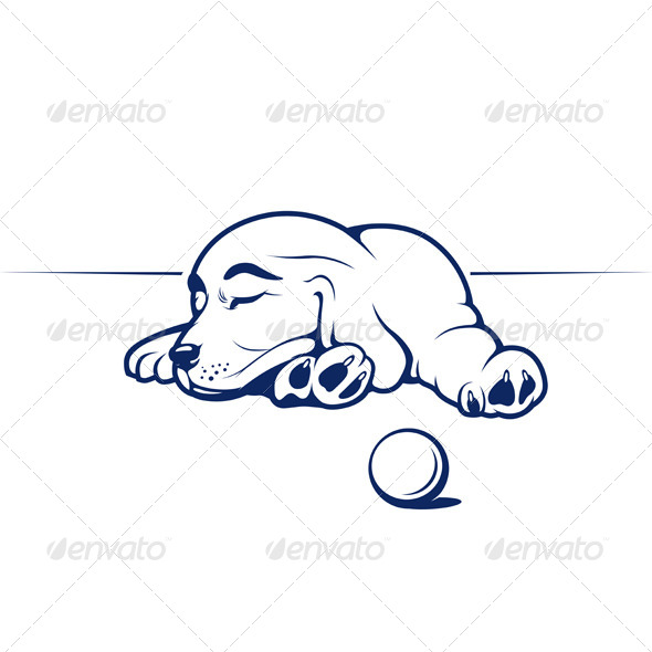 Sleeping Cute Puppy Dog - Animals Characters