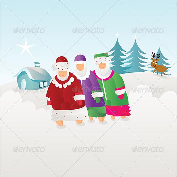 People Enjoying Winter Season - Seasons/Holidays Conceptual
