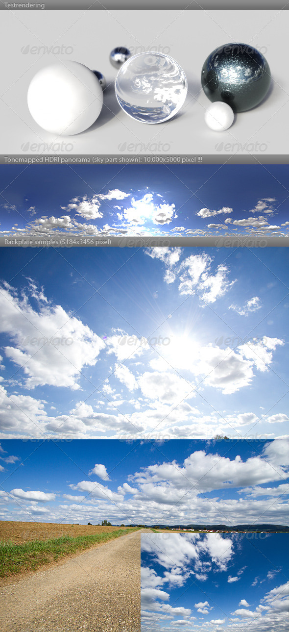 HDRI spherical sky panorama -1547- sun clouds - 3DOcean Item for Sale