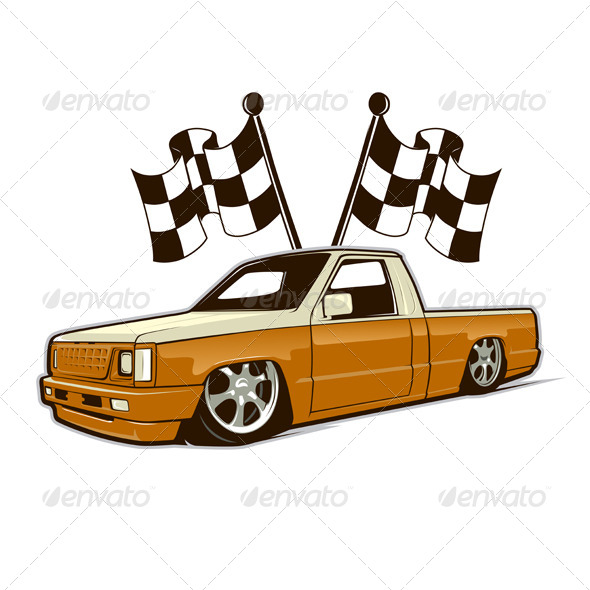 Race Car Truck and Flags - Sports/Activity Conceptual