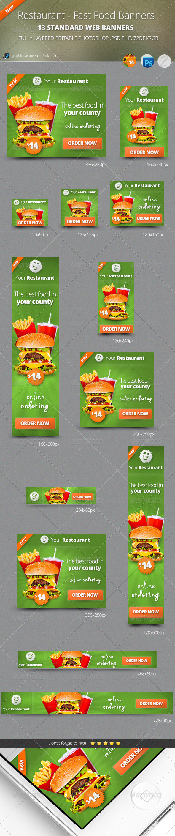 Restaurant - Fast Food Banners - Banners & Ads Web Elements