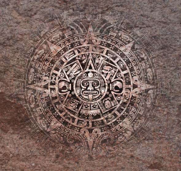 Mayan Calendar on Old Stone - Backgrounds Decorative