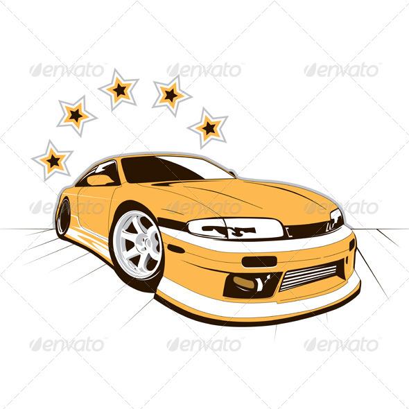 Racing Car and Stars - Sports/Activity Conceptual
