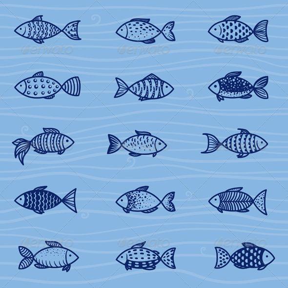 Vector Fish Set - Animals Characters