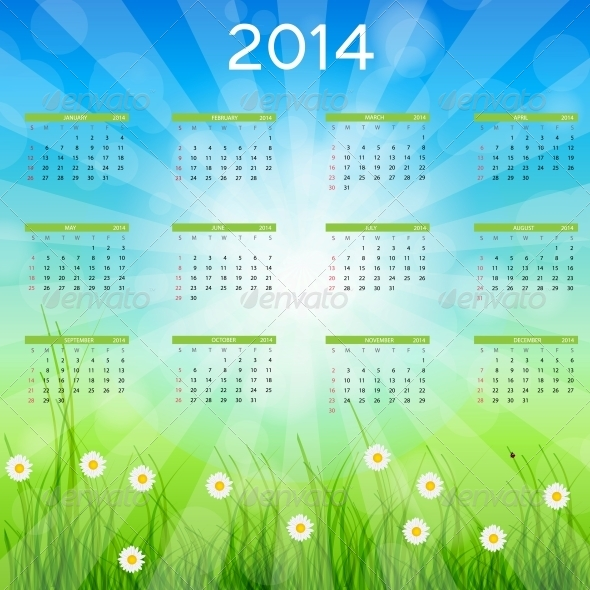 2014 New Year Calendar Vector Illustration - New Year Seasons/Holidays