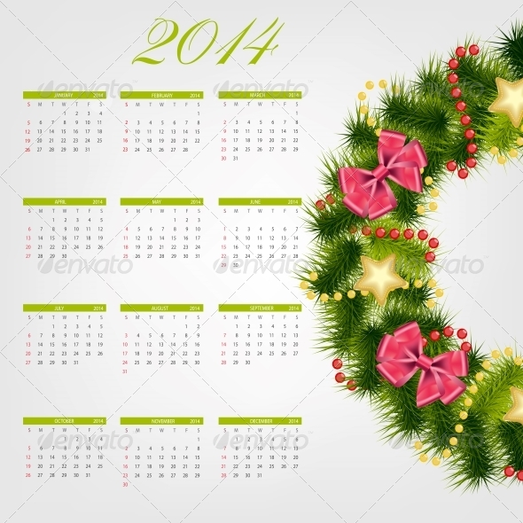 2014 New Year Calendar Vector Illustration - New Year Seasons/Holidays