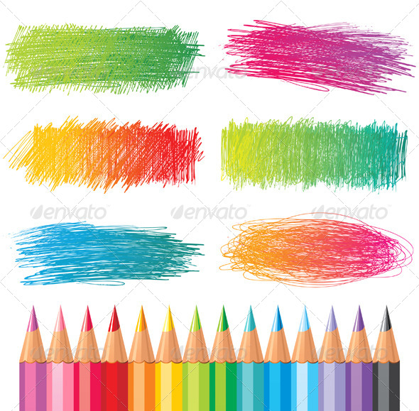 Colorful Pencil Drawings - Decorative Symbols Decorative