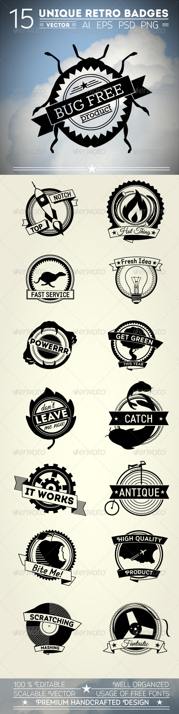 15 Unique Retro Badges - Retro Technology