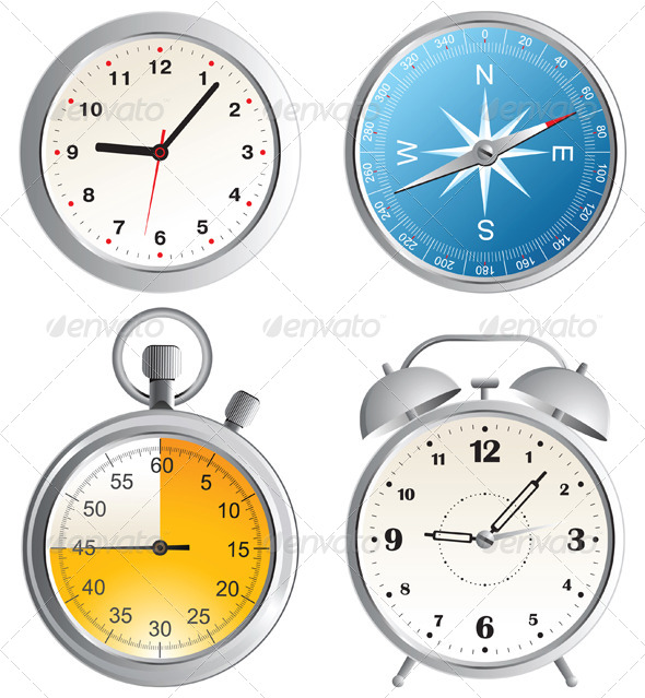 Clock, Alarm Clock, Compass and Stop Watch Icons  - Man-made Objects Objects