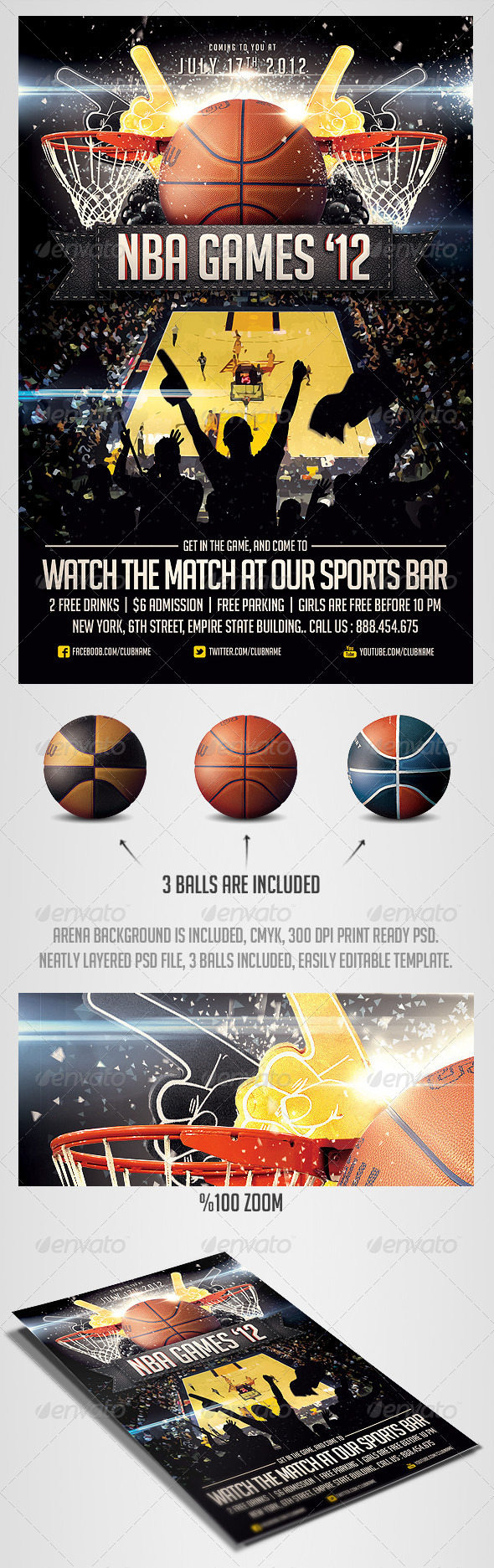 BasketBall Sports Flyer Template - Sports Events