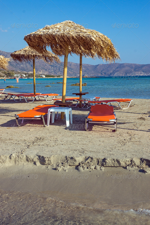 Parasols and sun loungers - Stock Photo - Images