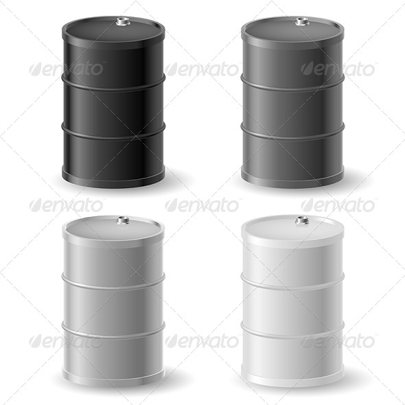 Oil Barrels Icon Set - Concepts Business