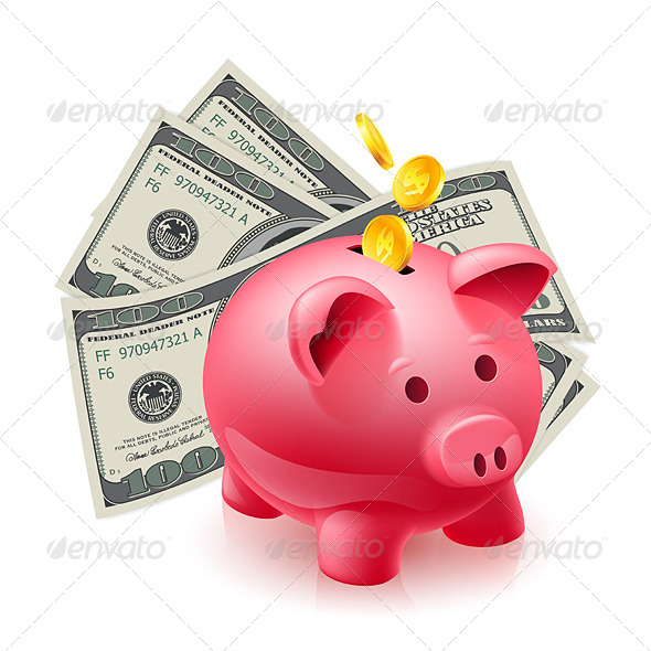 Piggy Bank with Money - Concepts Business