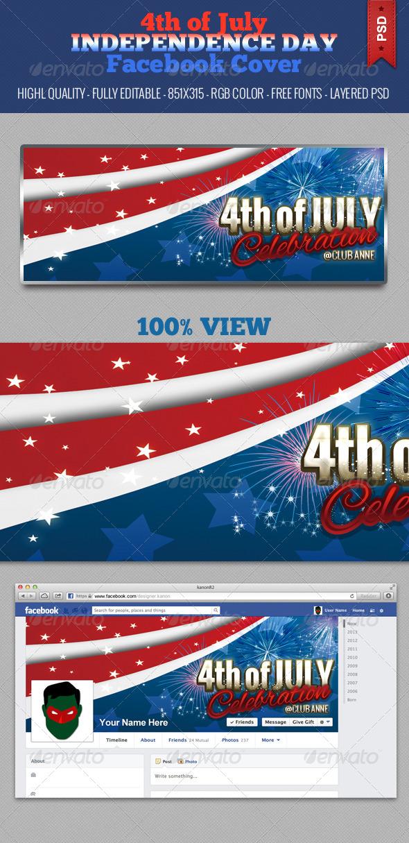 4th of July Independence Day Facebook Cover - V3 - Facebook Timeline Covers Social Media
