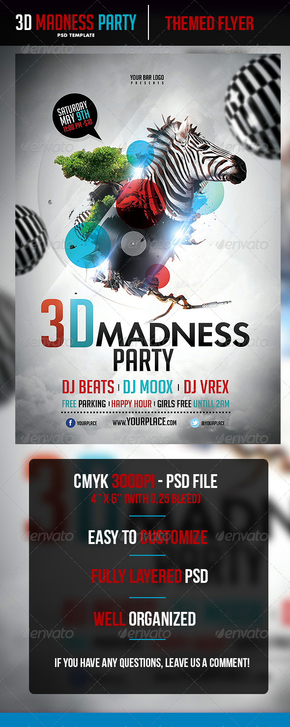 3D Madness Flyer Template - Flyers Print Templates