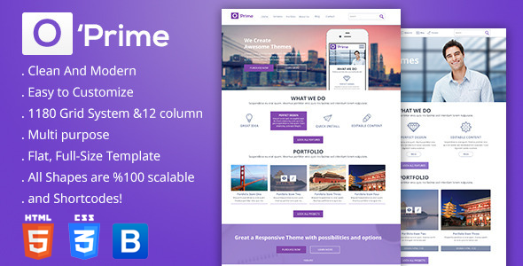 O'prime Multi Purpose Responsive HTML Template - Business Corporate