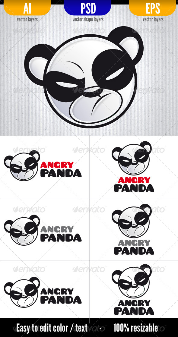Angry Panda - Animals Logo Templates