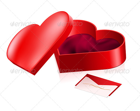 Red Heart Shaped Box - Characters Vectors